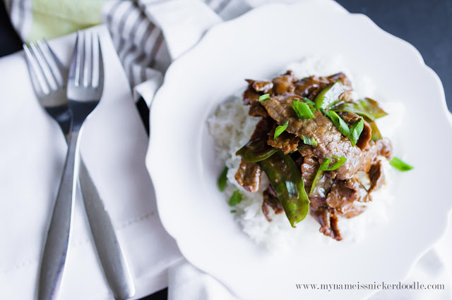 A super easy Beef and Snow Peas recipe!  Perfect for a weeknight dinner!  |  mynameissnickerdoodle.com