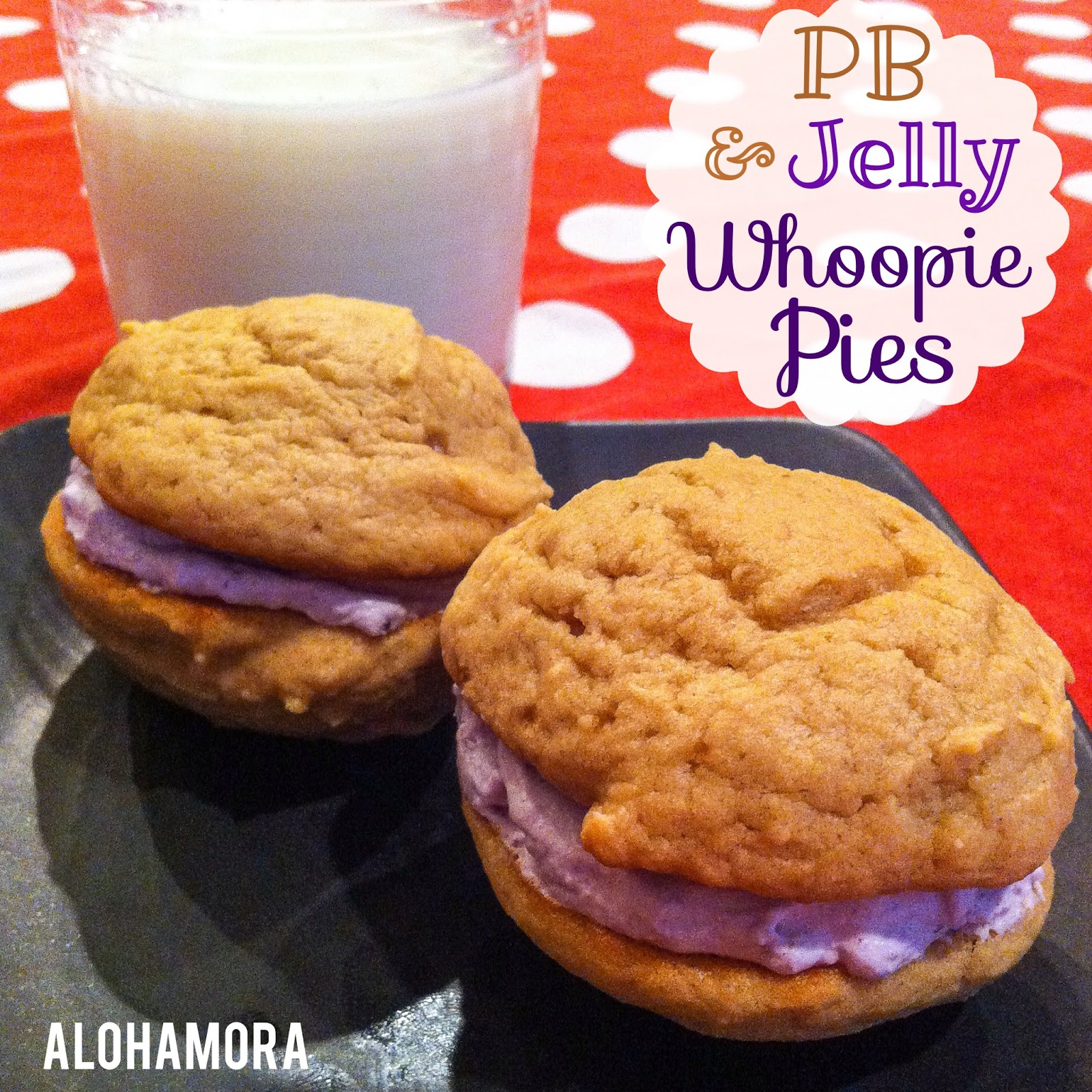 Peanut Butter and Jelly Whoopie Pies/cookies.  Light and airy and the best and most fun pb&j sandwich you'll ever have. Alohamora Open a Book http://www.alohamoraopenabook.blogspot.com/