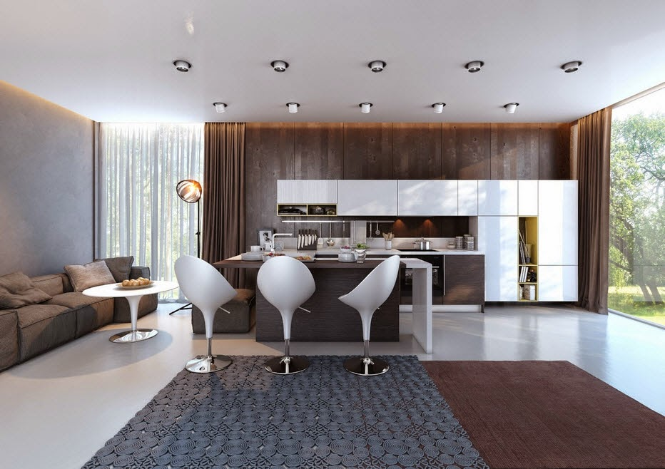 Design of kitchen with contrast white Brown and yellow