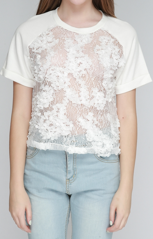 3D Flower Laced See-Thru Top