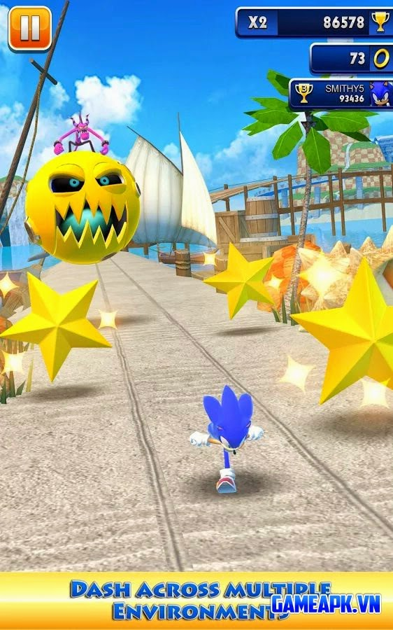 Sonic Dash v1.13.0.Go Mod (Unlimited Stars & Rings) cho Android
