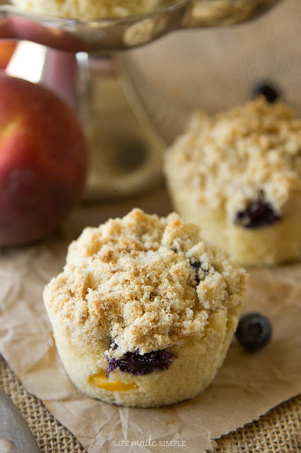 Blueberry Peach Coffee Cake Muffins