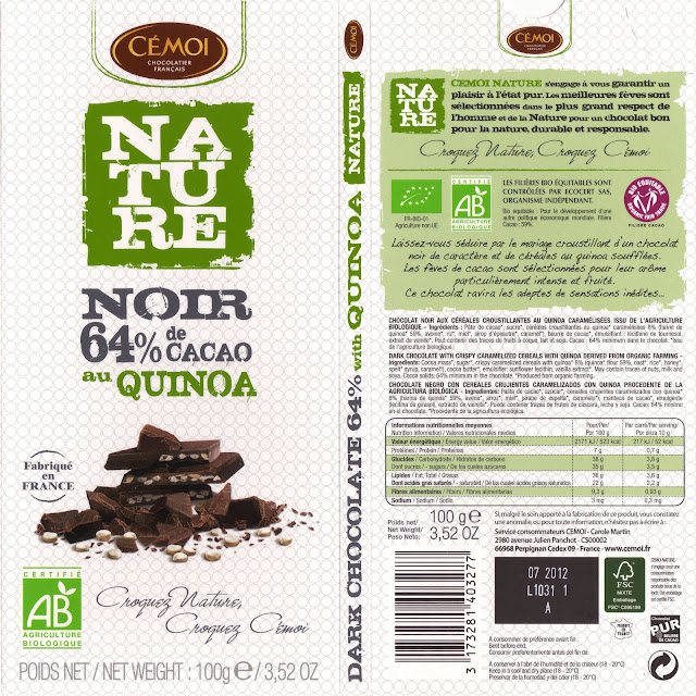 tablette de chocolat noir gourmand cémoi nature noir quinoa 64