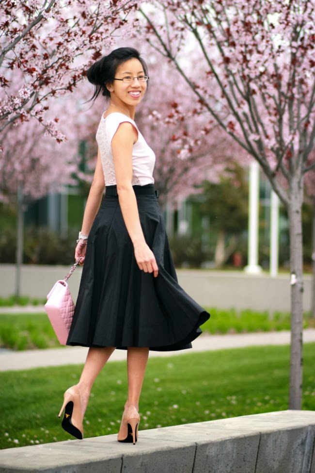 romance valentine outfit look black full skirt