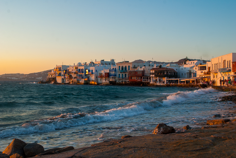 sunset at little venice in mykonos town, greece