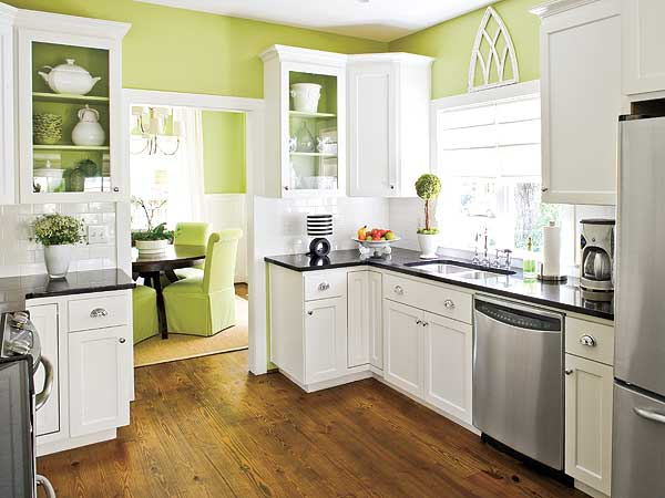 Beauty and the green bold beautiful kitchen color for Kitchen cabinets green