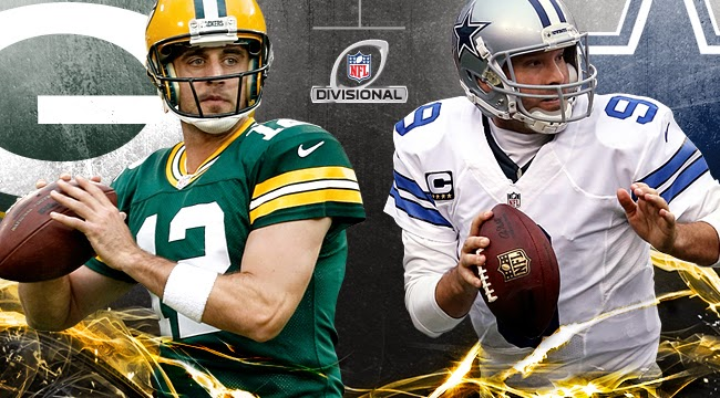 Aaron Rodgers and Tony Romo playoff graphic