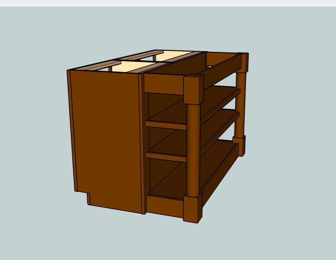 Here is the design with door/drawer fronts and a generic countertop to