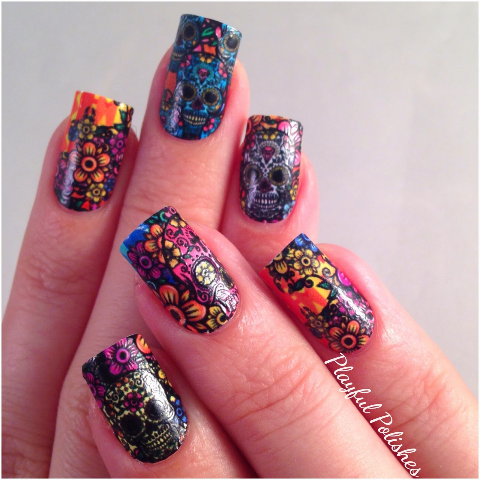 Playful Polishes: NCLA NAIL WRAPS/SUGAR SKULL NAILS
