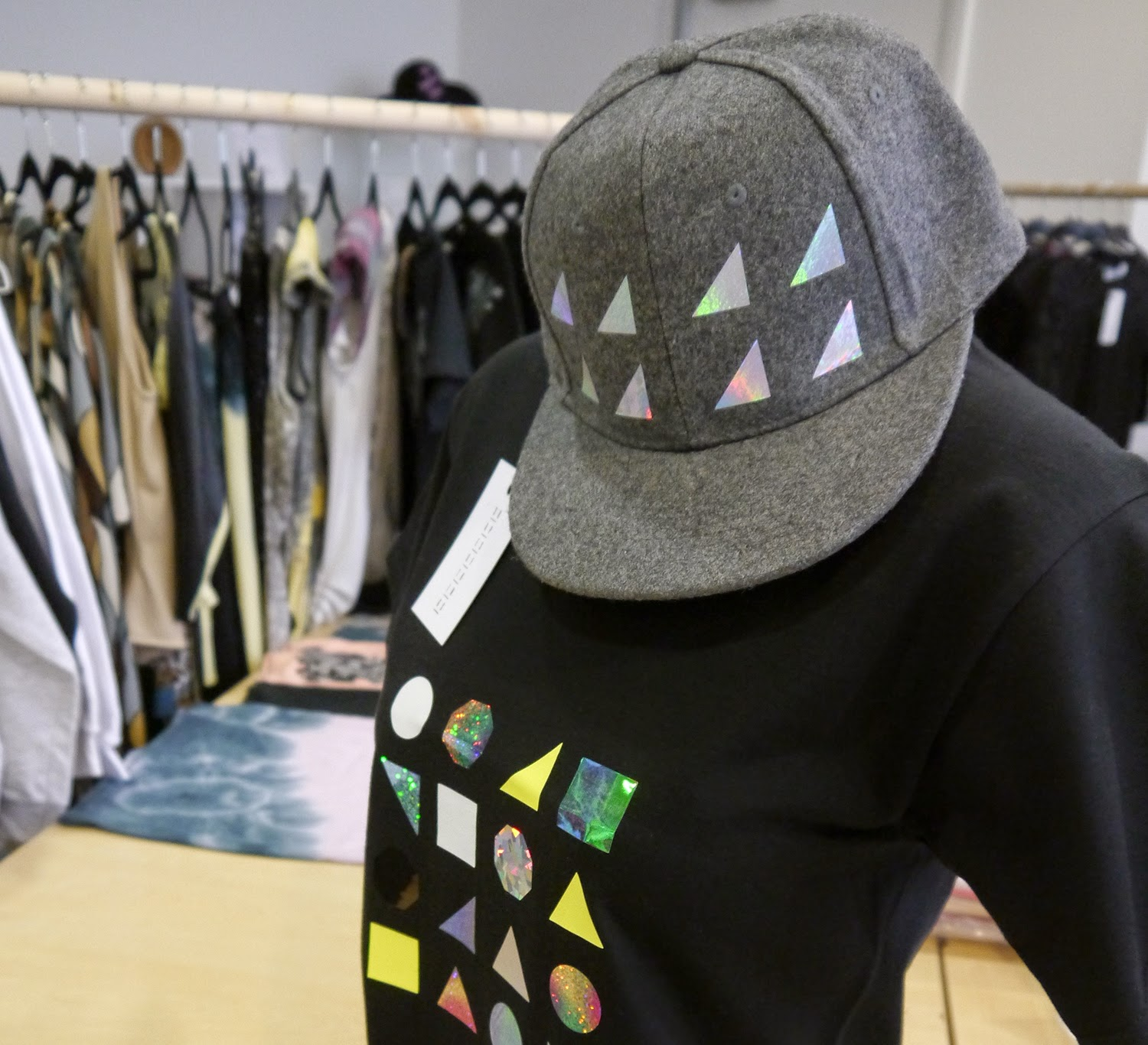 Wear Eponymous, The Wardrobe, Glasgow Fort, Glasgow Pop Up Shop, Shop Display, Scottish Design, Shapes of Things, hat, tshirt design