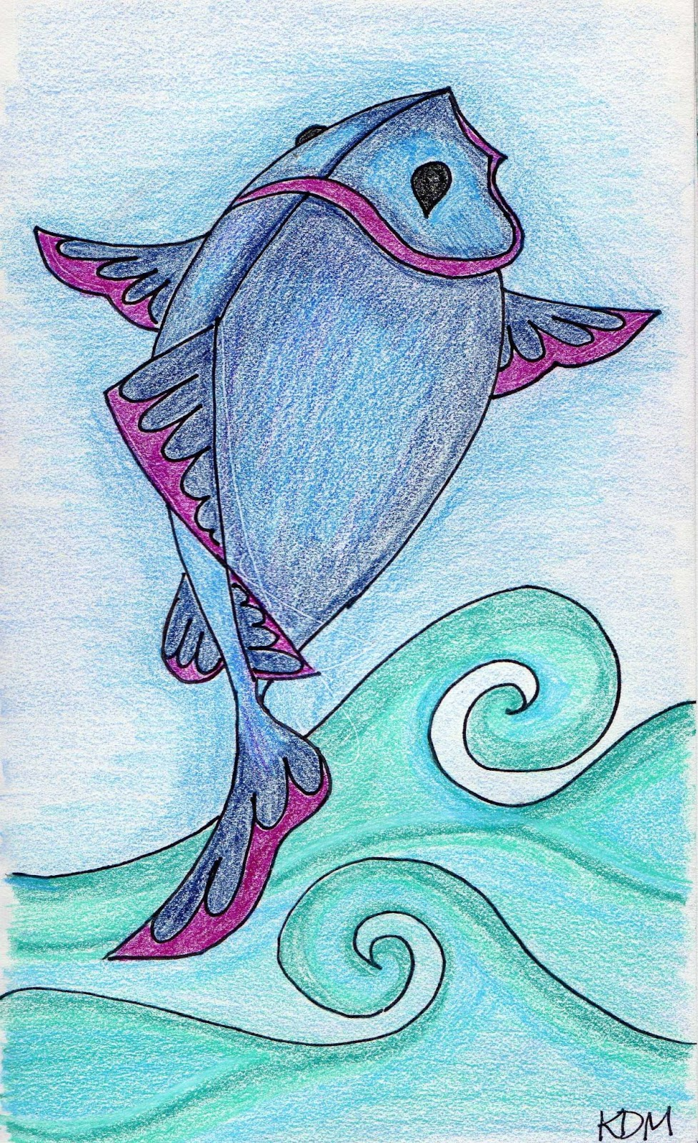My creative space colored pencil drawings for Flying fish drawing