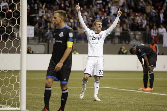 Vancouver Whitecaps player Corey Hertzog celebrates after scoring against FC Edmonton