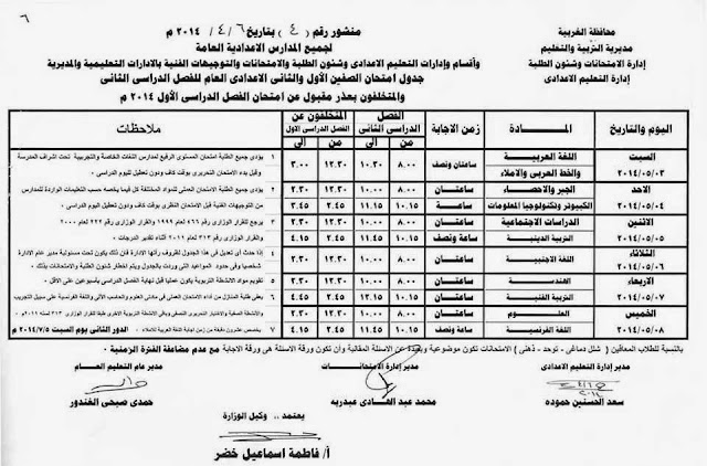 Prep 1 2 T2 جدول مواعيد صفوف الاعدادية الترم الثاني بالغربية 2014 و الاعدادية المهنية الصف الاول و الثاني و الثالث