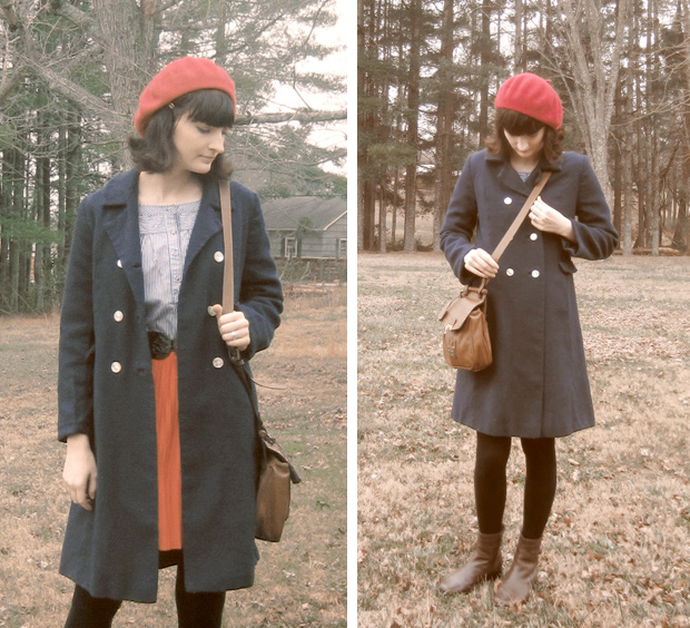 Vintage wool coat and beret