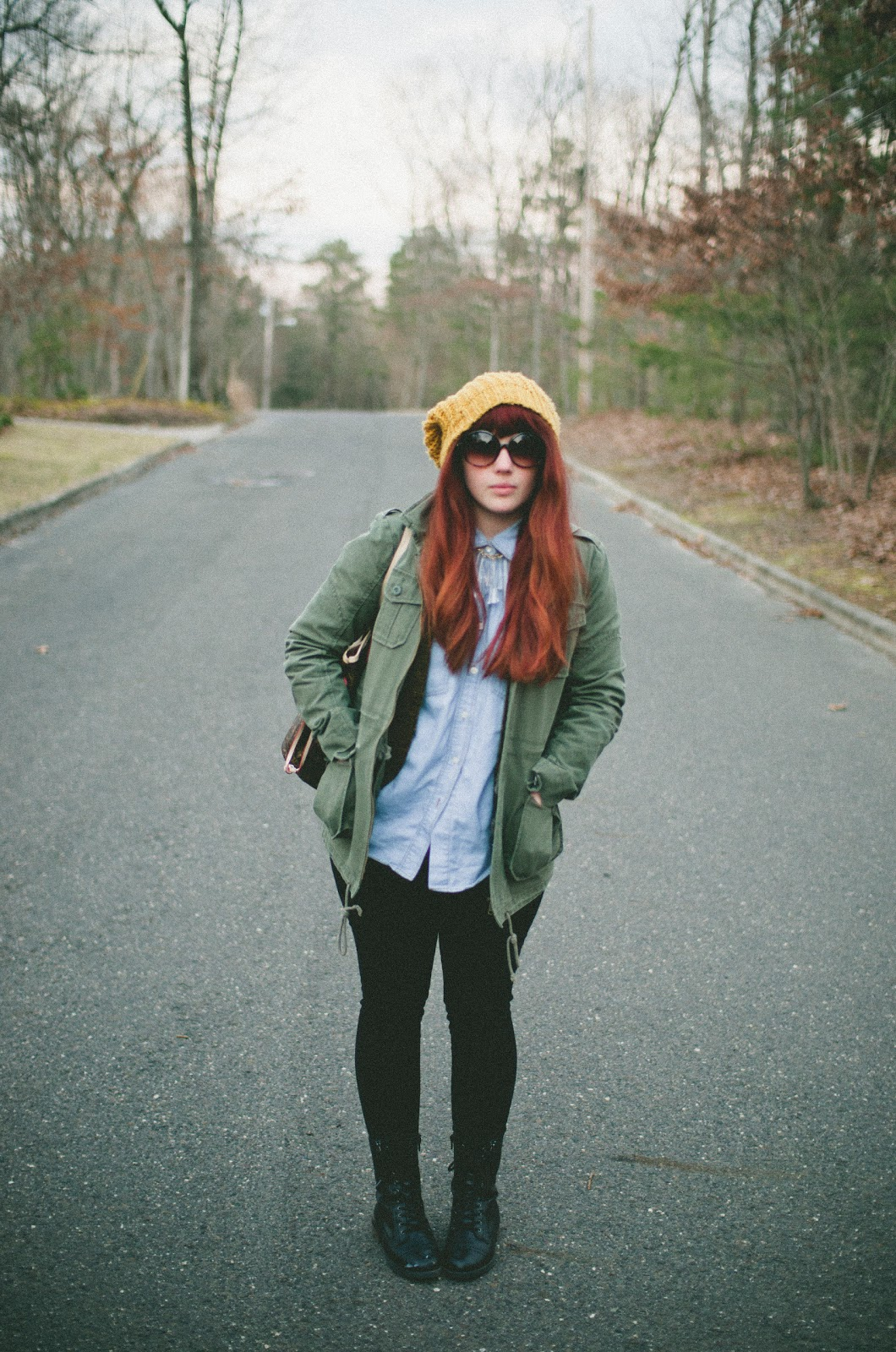 redhead, hip, trendy, tumblr, combat boots, army green jacket, round sunglasses, bangs