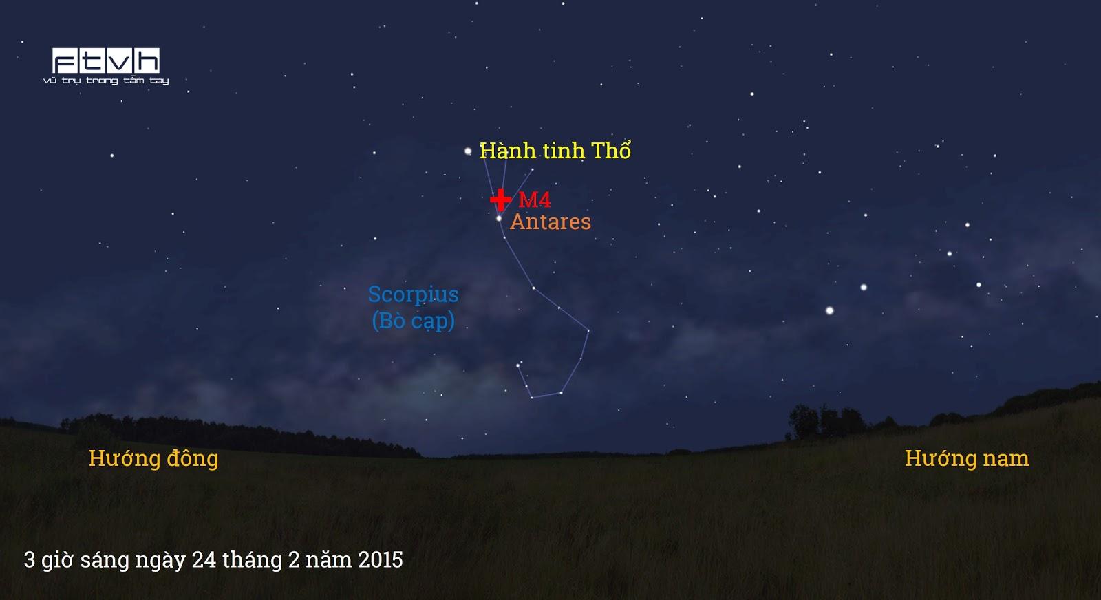 Minh họa bầu trời đêm lúc 3 giờ sáng ngày 24 tháng 2 năm 2015. Bạn có thể thấy được hành tinh Thổ tỏa sáng cùng với sao Antares của chòm sao Scorpius (Bò cạp).