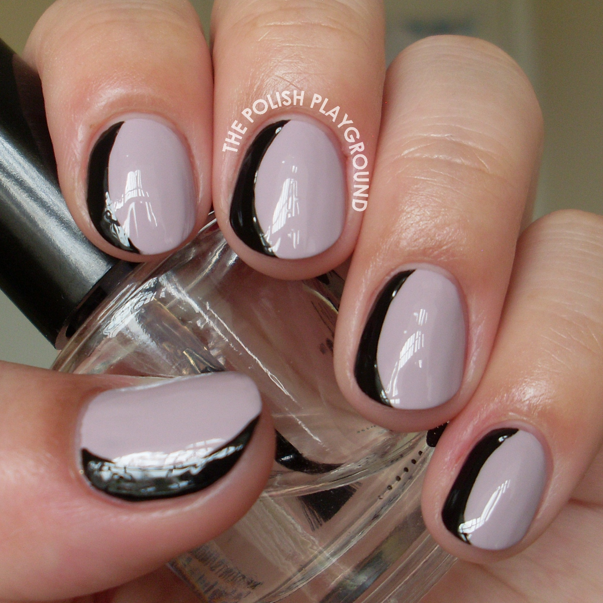 Purple and Black Sideways French Manicure Nail Art