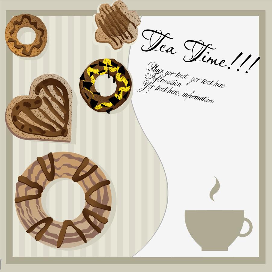 お茶とスイーツのテーブルクロス afternoon tea card イラスト素材
