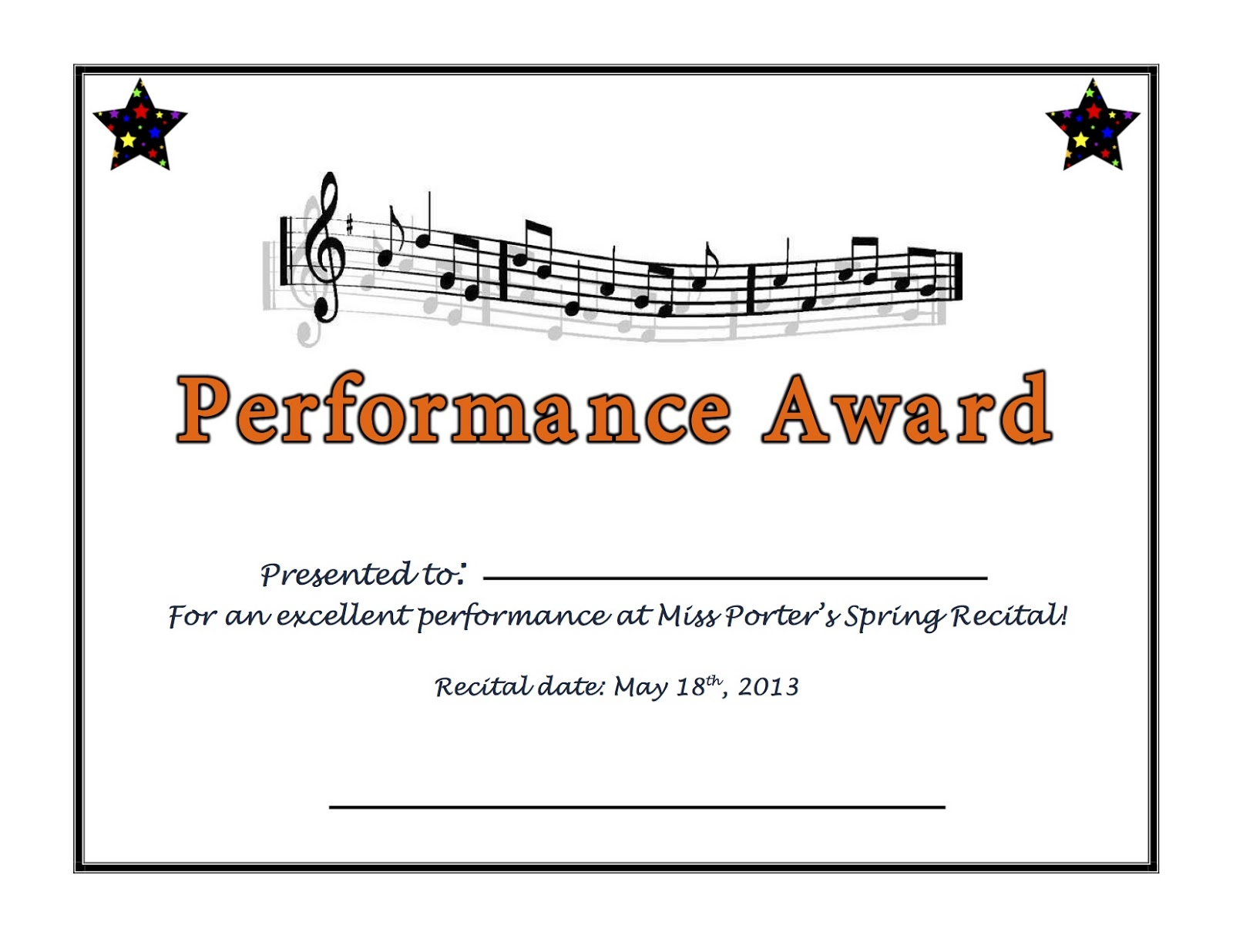 Performance certificate templates music performance award performance certificate templates yadclub Choice Image
