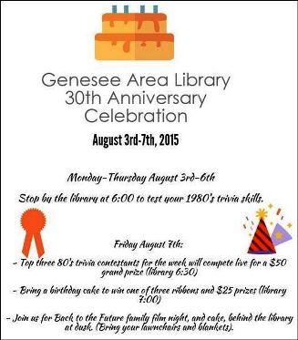 8-3 thru 8-7 Genesee Library Anniversary
