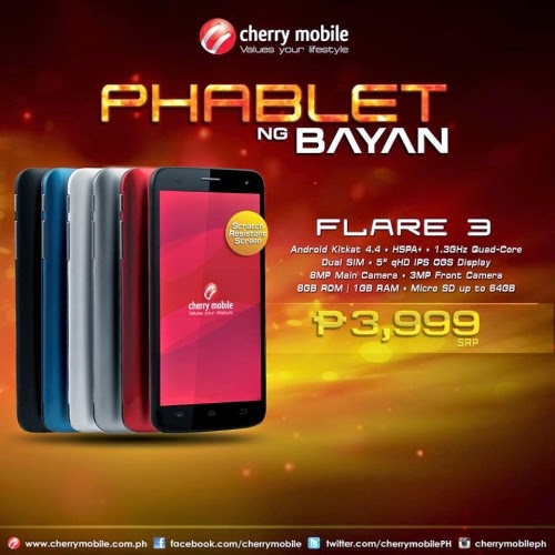Cherry Mobile Flare 3, Quad Core KitKat, P3,999 Price