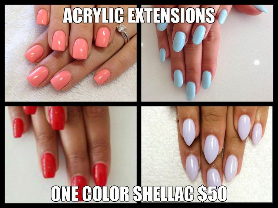 Acrylic-extensions-one-color-shellac-pastels-solids-opaques-shimmers-glitters-chromes-metallic-neon-square-almond-squalmond-cusp-stiletto