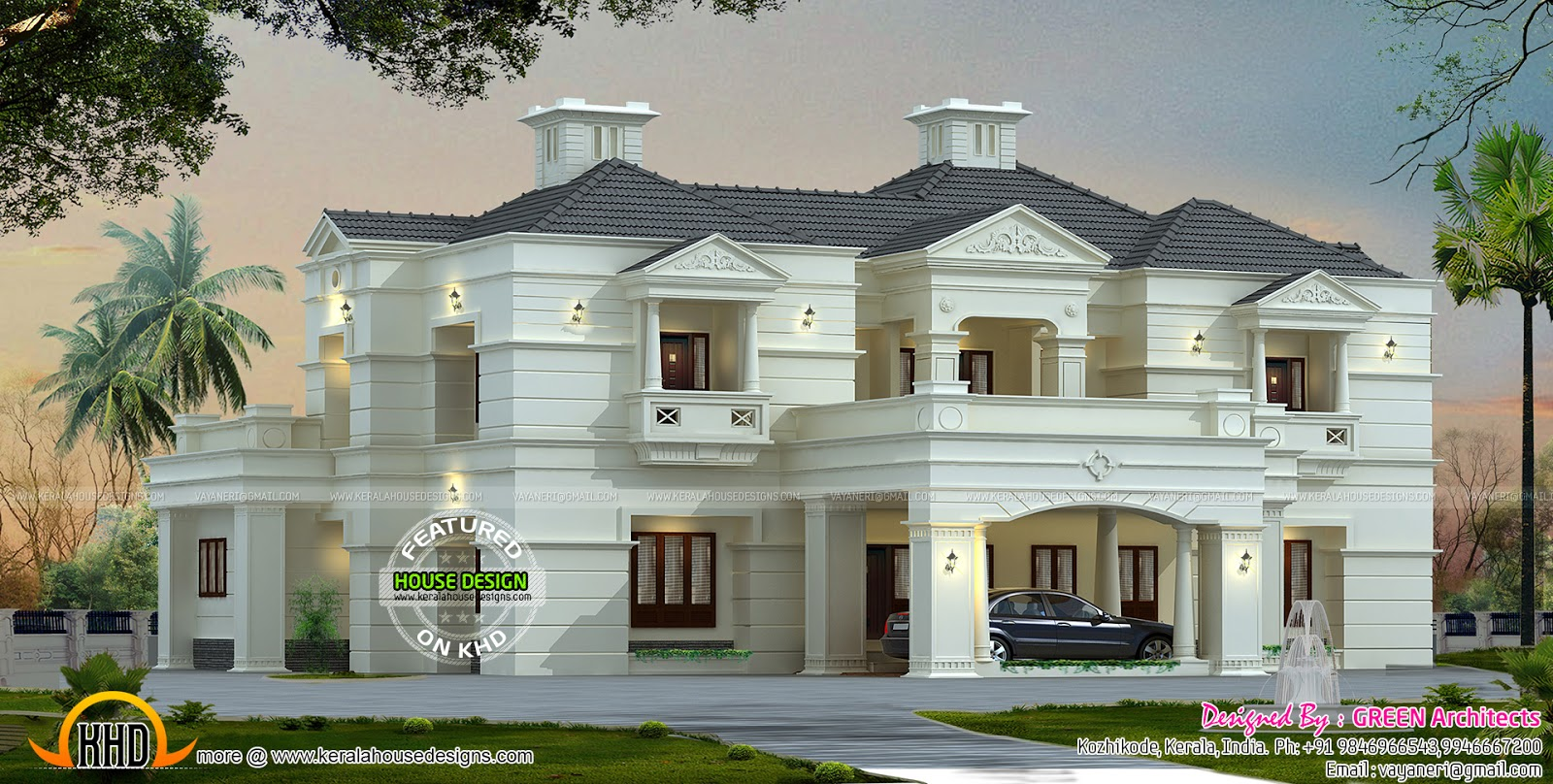 New modern luxury home kerala home design and floor plans for Luxury style house plans