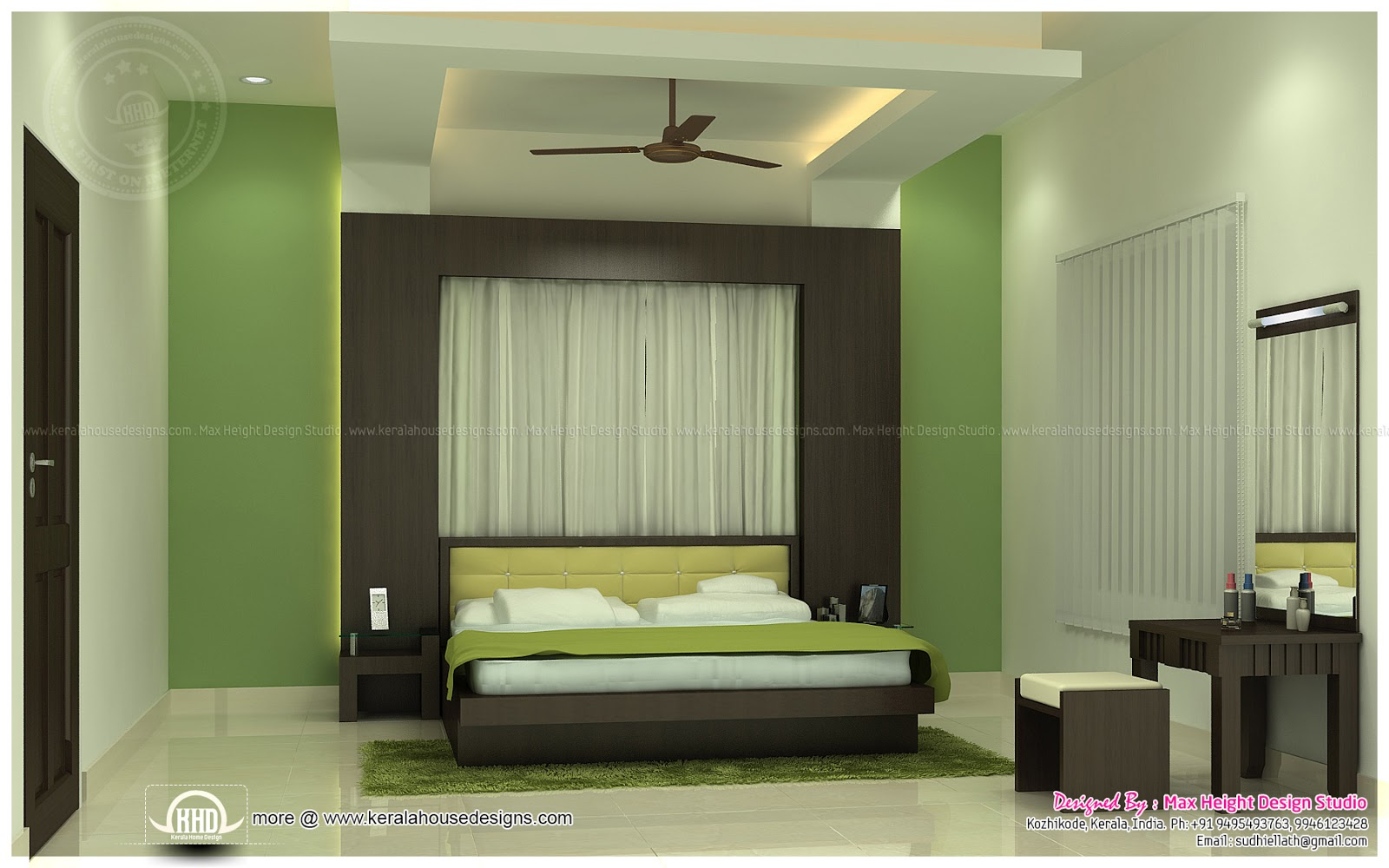 Beautiful interior ideas for home home kerala plans for Interior design small bedroom indian
