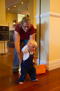 Tobias practicing to walk