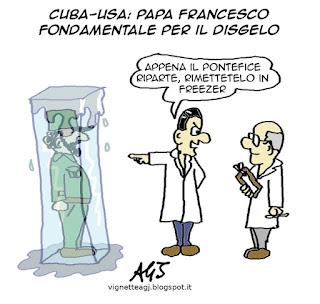 Usa, Cuba, disgelo, papa framcesco, fidel Castro, satira vignetta