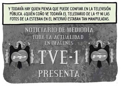 Viñeta de El Jueves que compara el Telediario y las fotos de Interviu