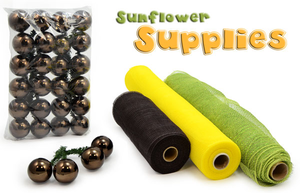 Supplies for creating a deco mesh sunflower
