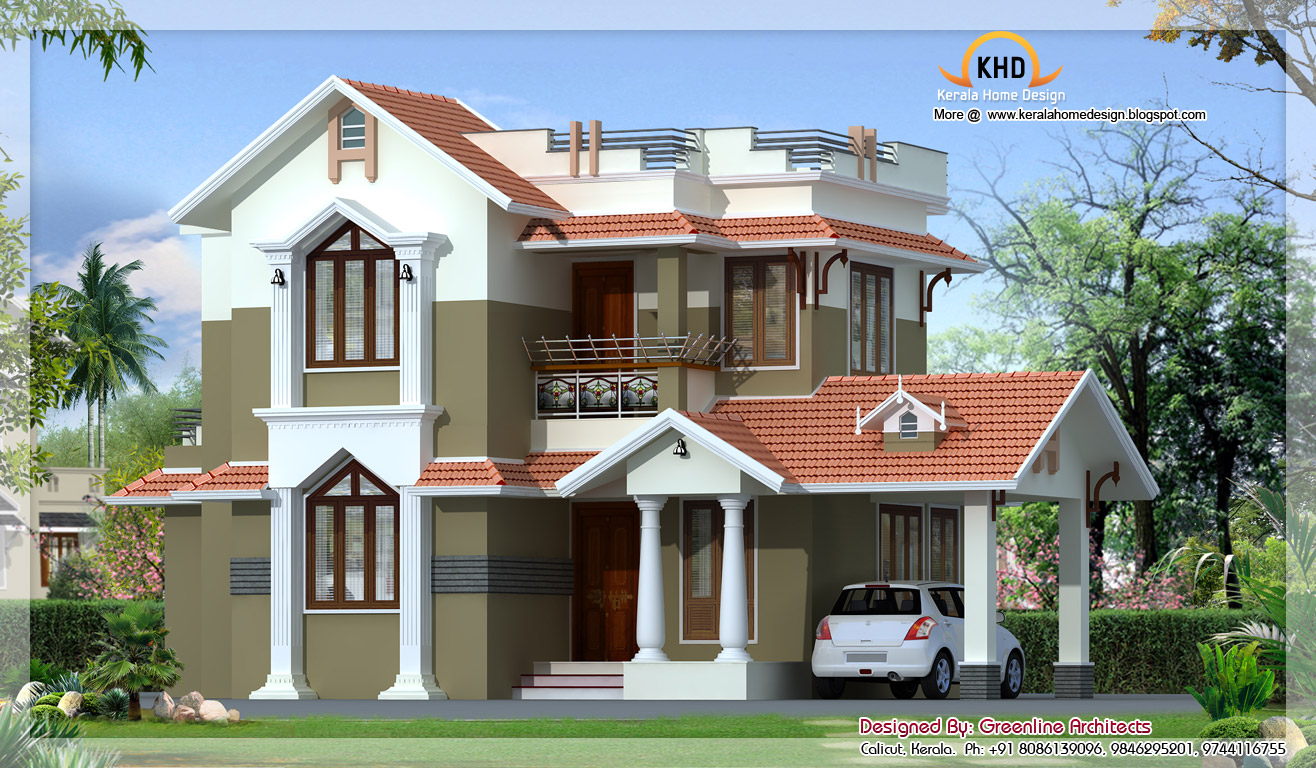 Traditional mix contemporary home 1740 sq ft kerala for Home designs traditional