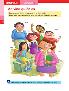 Apoyo Primaria Español 1er grado lección 1 Adivina quién es