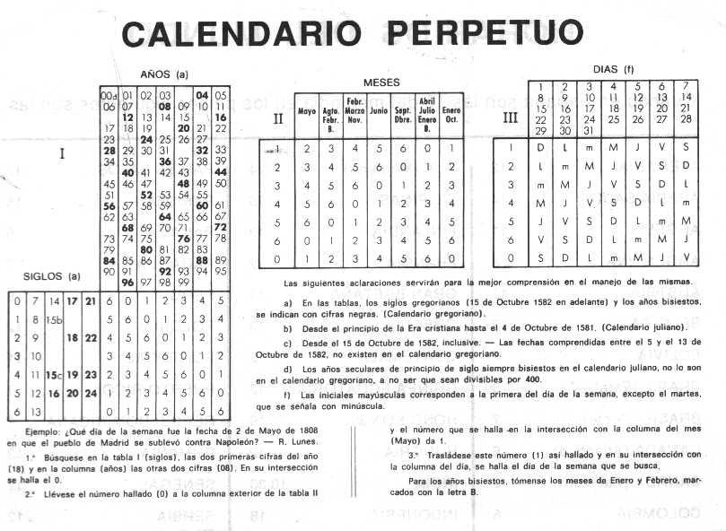 de tablas que permitían calcular el día de la semana de una fecha ...
