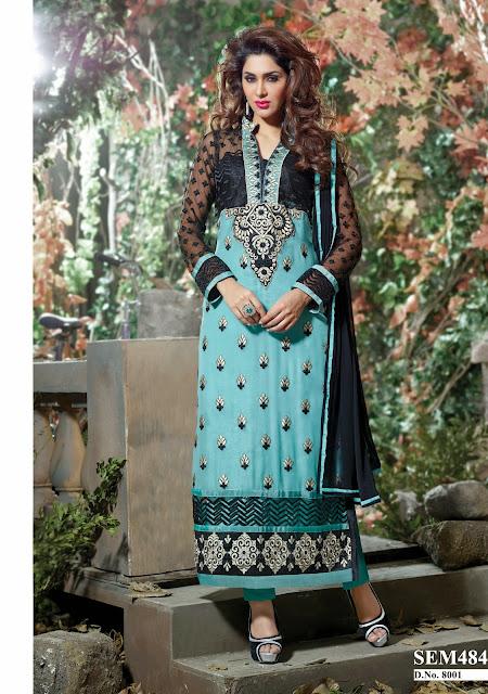 Buy Pure Georgette Embroidery Long Salwar Kameez