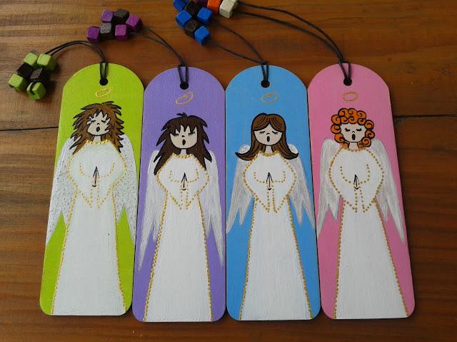 ręcznie malowane, anioły