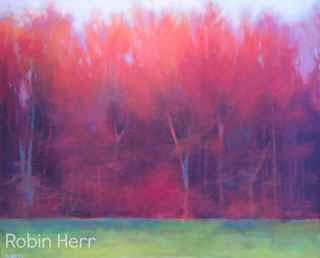 red orange landscape pastel