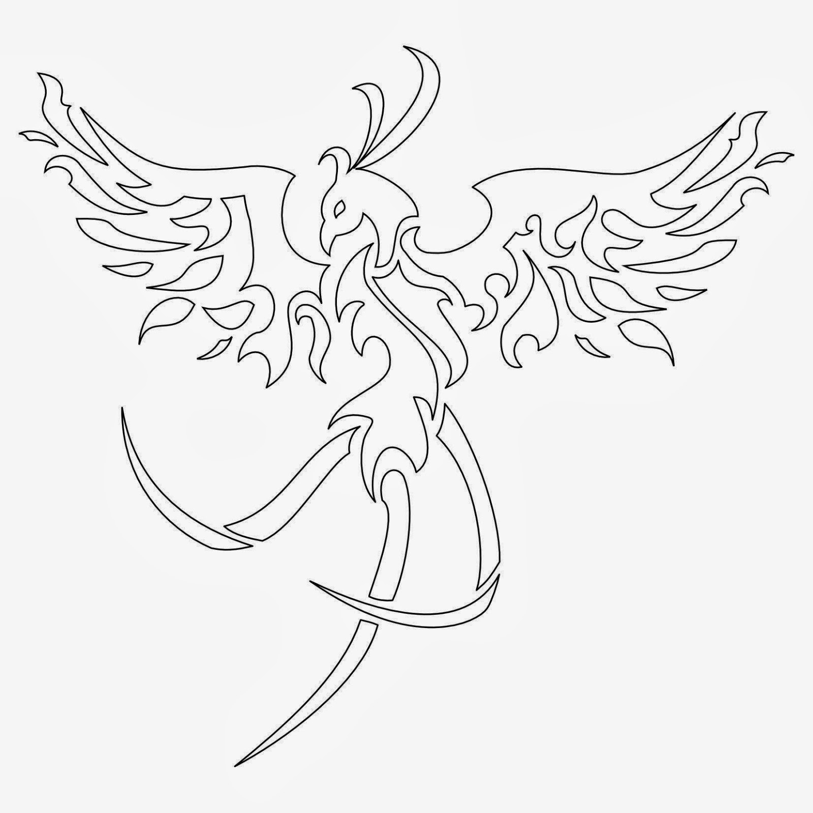 Phoenix off fire tattoo stencil