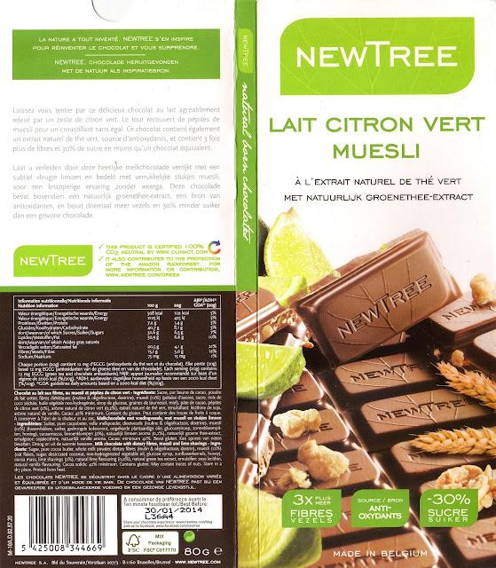 tablette de chocolat lait gourmand newtree lait citron vert muesli