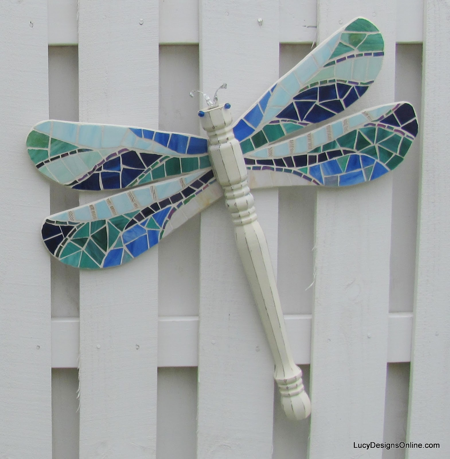 Table Leg Dragonflies With Stained Glass Mosaic Wings