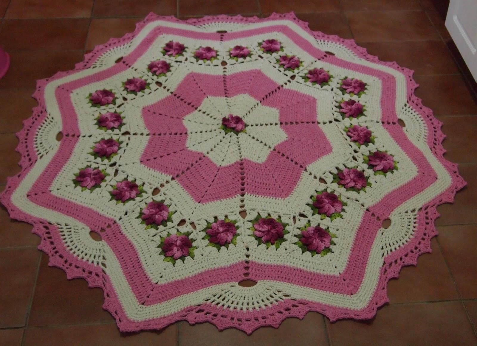 os croches da elsa tapete redondo estrela   flores cata vento