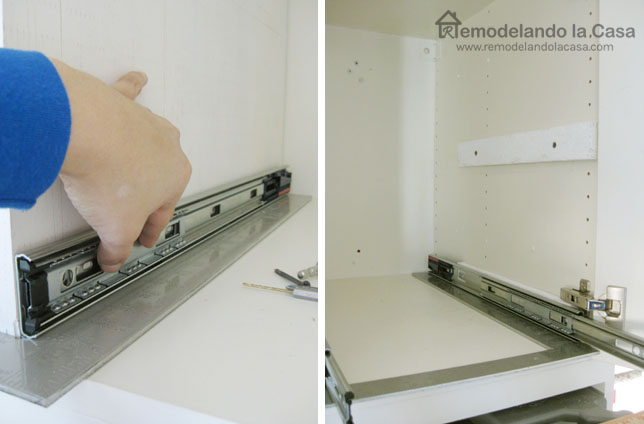 measuring slides in cabinet