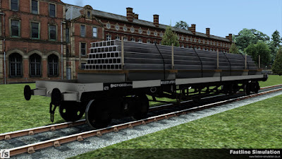 Fastline Simulation: A clean dia. 1/472 Bogie Bolster D with metric weights and a maximum capacity load of I-beams.
