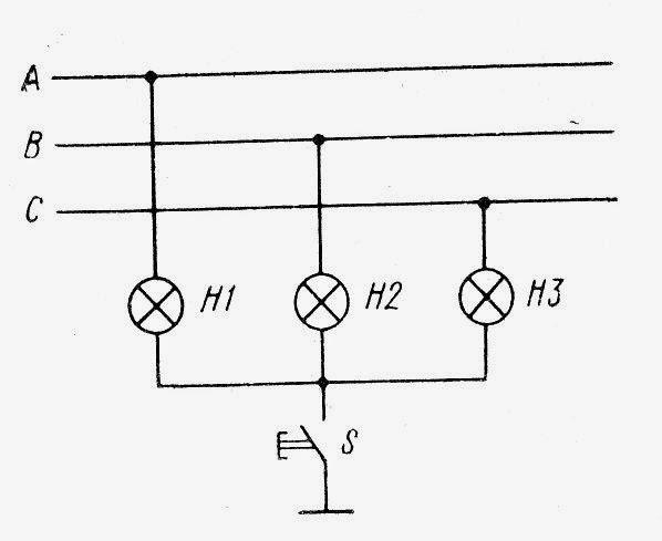 Схема включения ламп накаливания для контроля состояния изоляции трехфазной сети