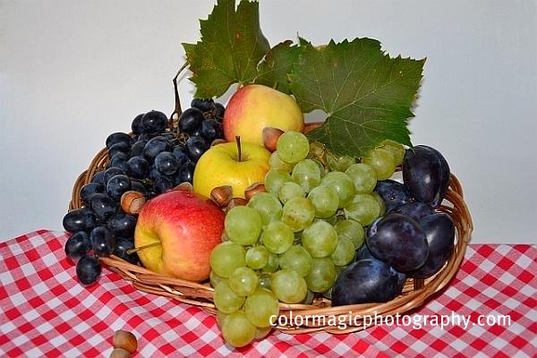 Autumn fruits in a basket