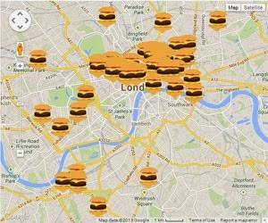 Interactive London Burger Map