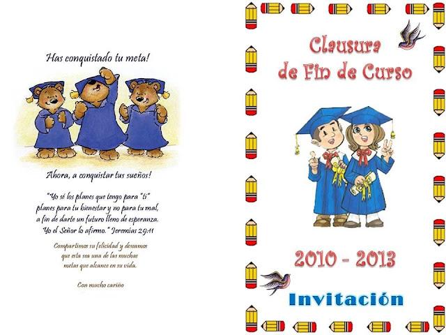 Invitación y foto grupal de Clausura de Fin de Curso para Jardín de