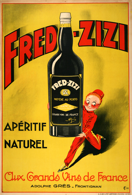 advertising, classic posters, food, free download, free printable, french poster, graphic design, printables, retro prints, vintage, vintage posters, vintage printables, Fred Zizi, Aperitif Naturel, French Wine - Vintage Wine, Food/Drink Poster Printable