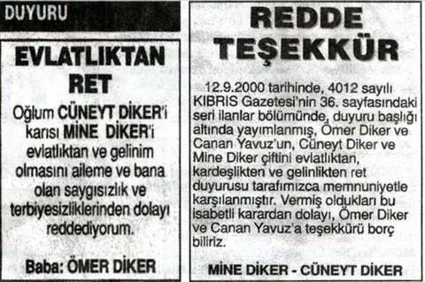 Evlatlıktan ret gazete ilanı cüneyt diker mine diker 4012 sayılı kıbrıs gazetesi 36. sayfa Ömer diker evlatlıktan ret gazetede mektup babalar nasıl çocuklarını evlatlıktan ret eder